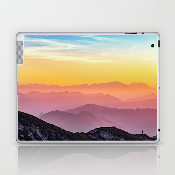 MOUNTAINS - LANDSCAPE - PHOTOGRAPHY - RAINBOW Laptop & iPad Skin