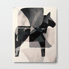 Dala horse in b/w Metal Print