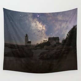 Photoart Lighthouse under the stars Wall Tapestry