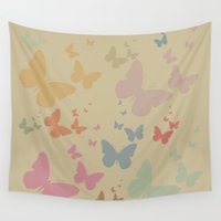 butterflies Wall Tapestries featuring Butterflies by Judy Palkimas