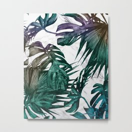 Tropical Palm Leaves on Marble Metal Print
