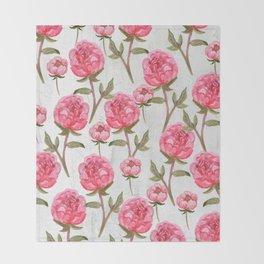 Pink Peonies On White Chalkboard Throw Blanket