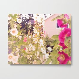 Pink Hollyhock Cottage Metal Print