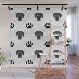 Black Great Dane Paw Print Pattern Wall Mural