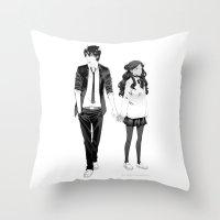 zuko Throw Pillows featuring ATLA High School: Zutara by Rein Akira