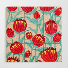Bold Protea Flower Pattern - Red Yellow Green Wood Wall Art