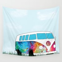 vw bus Wall Tapestries featuring Hippie Bus by KookyWhale