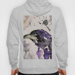 Watercolor Crow Sketch No.6 by Kathy Morton Stanion Hoody