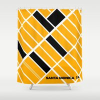 santa monica Shower Curtains featuring Santa Monica Ca. by Studio Tesouro