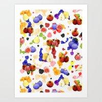 Watercolor Tutti Frutti Art Print