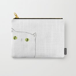 White Cat Face Carry-All Pouch