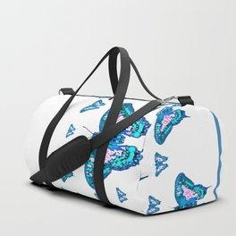 CONTEMPORARY LAGOON BLUE BUTTERFLIES MODERN ART Duffle Bag