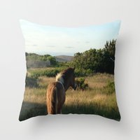 pony Throw Pillows featuring pony by catrinaevans