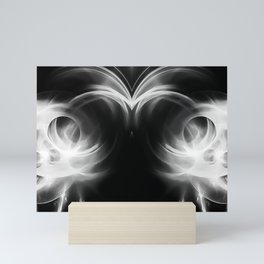abstract fractals mirrored reacbw Mini Art Print
