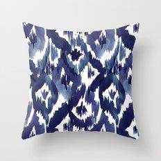 Indigo Blue Ikat Throw Pillow