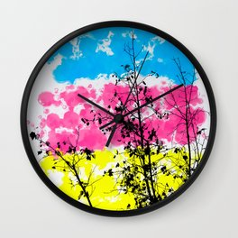 tree branch with leaf and painting texture abstract background in blue pink yellow Wall Clock