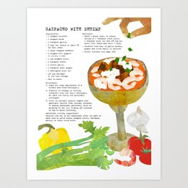 Gazpacho Recipe and Collage Illustration Art Print