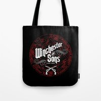 winchester Tote Bags featuring Winchester & Sons by Manny Peters Art & Design