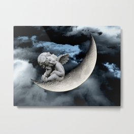 Angel Cherub Child Moon Blue Child's Room Art A542 Metal Print