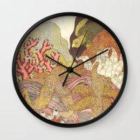 life aquatic Wall Clocks featuring Aquatic by Amanda James