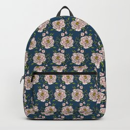 Peony Love on Navy Backpack