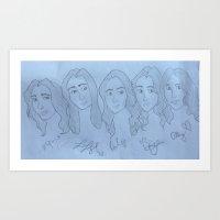 fifth harmony Art Prints featuring Fifth Harmony Cartoon by Julia