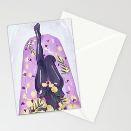 Woman Taking a Bath in Lilac Water with Lemon Slices, Flowers and Palm Leaves Stationery Cards