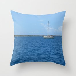 Sail boat in the Turks & Caicos Throw Pillow