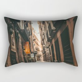Barcelona Alley | Tilted Alleyway Streets in the City High Buildings Charming Moody Architecture  Rectangular Pillow