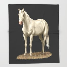 Beautiful White Cremello Horse Throw Blanket