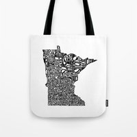 minnesota Tote Bags featuring Typographic Minnesota by CAPow!