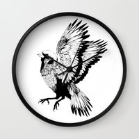 sparrow Wall Clocks featuring Sparrow by akreon