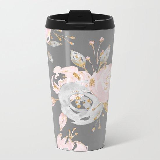 Night Rose Garden Gray Metal Travel Mug