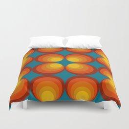 70s Circle Design - Teal Background Duvet Cover