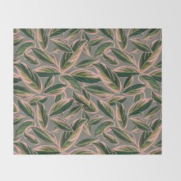 Calathea Leaves Pattern- Pink Green Gray Throw Blanket