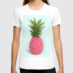 PINEAPPLE ROSES White Womens Fitted Tee SMALL