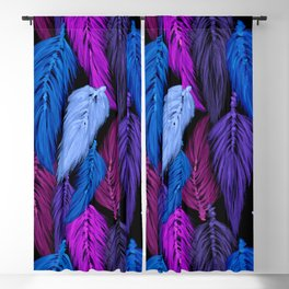 Watercolor Macrame Feather Toss in Black + Indigo Blackout Curtain