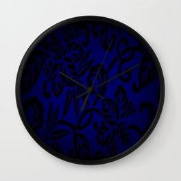 Dark Blue Japanese Pattern Wall Clock