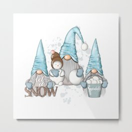 Let It Snow | Nordic Gnomes Metal Print