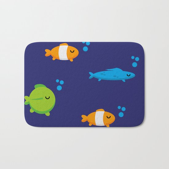 Fish bath mat by fishdesigns society6 for Fish bath rug