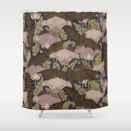 Vintage Art Deco Bat and Flowers Shower Curtain