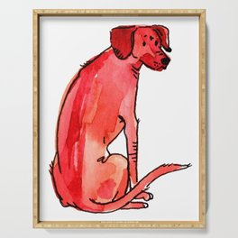 Coral - Dog Watercolour Serving Tray