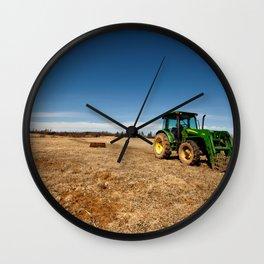 John Deere Tractor in Field Wall Clock