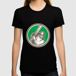 Cricket Player Batsman Batting Circle Retro T-shirt
