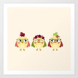 Triplettes poussines Art Print