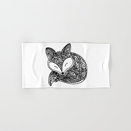 Black and White Mandala Fox Design Illustration Hand & Bath Towel