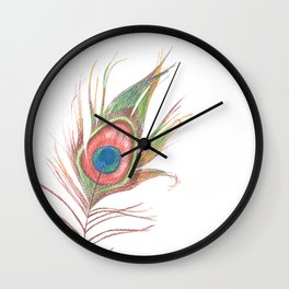 Peacock Bird Feather Art Wall Clock