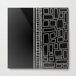 Black and White Squares Metal Print