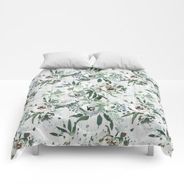 Green white blush pink watercolor geometrical floral Comforters