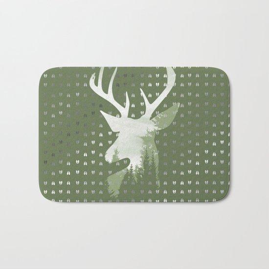 Green Deer Abstract Footprints Landscape Design Bath Mat